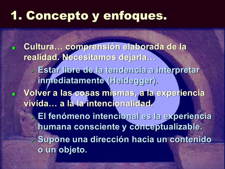 1. Concepto y enfoques. Cultura… comprensión elaborada de la realidad. Necesitamos dejarla… Estar libre de la tendencia a interpretar inmediatamente (