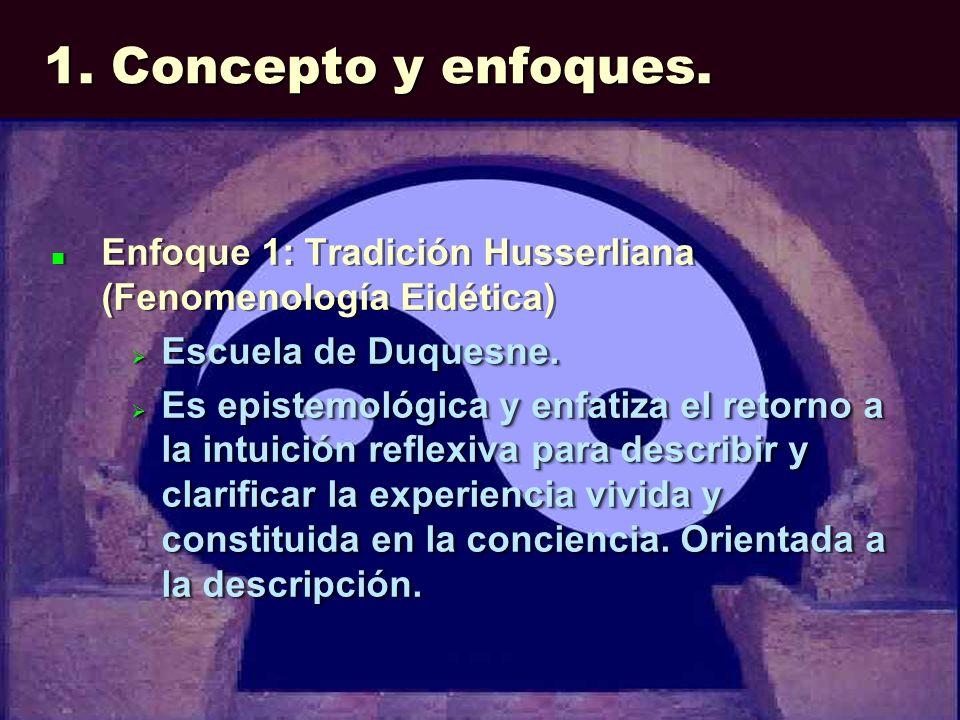1. Concepto y enfoques. Enfoque 1: Tradición Husserliana (Fenomenología Eidética) Escuela de Duquesne. Escuela de Duquesne. Es epistemológica y enfati