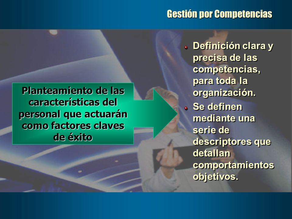 Gestión por Competencias Definición clara y precisa de las competencias, para toda la organización. Se definen mediante una serie de descriptores que