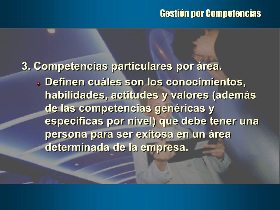 Gestión por Competencias 3. Competencias particulares por área. Definen cuáles son los conocimientos, habilidades, actitudes y valores (además de las