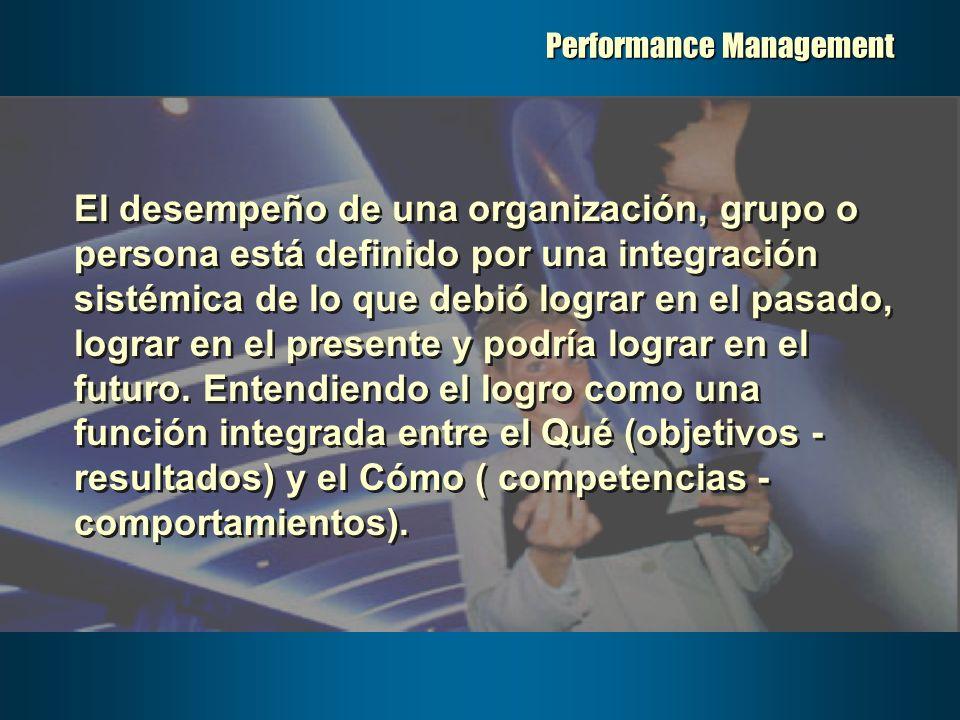 Performance Management El desempeño de una organización, grupo o persona está definido por una integración sistémica de lo que debió lograr en el pasado, lograr en el presente y podría lograr en el futuro.