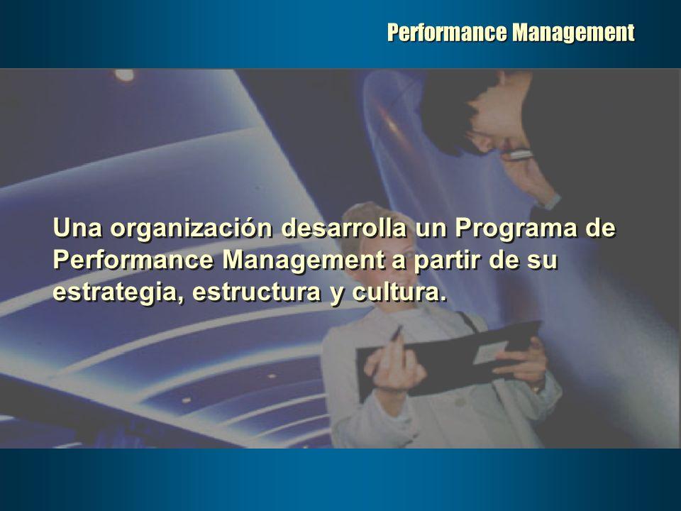 Performance Management Una organización desarrolla un Programa de Performance Management a partir de su estrategia, estructura y cultura.