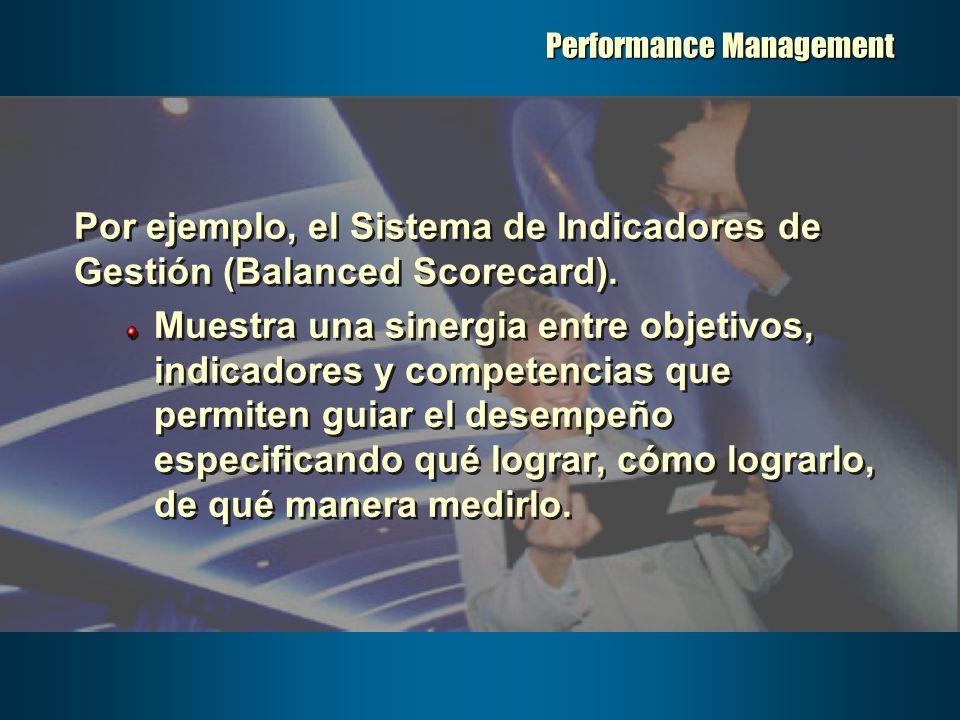 Performance Management Por ejemplo, el Sistema de Indicadores de Gestión (Balanced Scorecard). Muestra una sinergia entre objetivos, indicadores y com