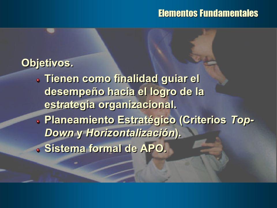 Elementos Fundamentales Objetivos. Tienen como finalidad guiar el desempeño hacia el logro de la estrategia organizacional. Planeamiento Estratégico (