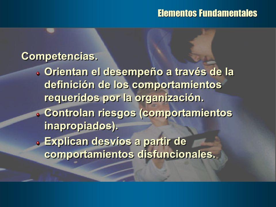 Elementos Fundamentales Competencias. Orientan el desempeño a través de la definición de los comportamientos requeridos por la organización. Controlan