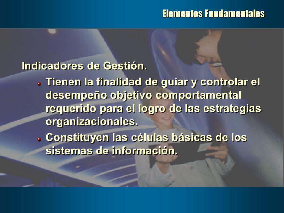 Elementos Fundamentales Indicadores de Gestión. Tienen la finalidad de guiar y controlar el desempeño objetivo comportamental requerido para el logro