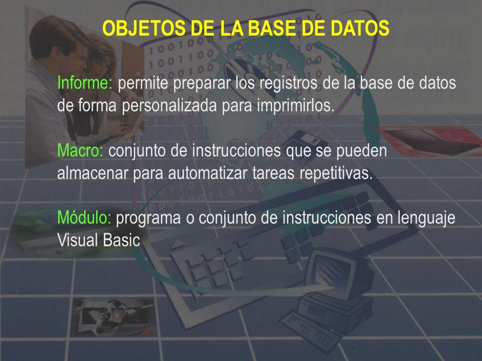OBJETOS DE LA BASE DE DATOS Tablas: unidad donde crearemos el conjunto de datos de nuestra base de datos. Estos datos estarán ordenados en columnas ve