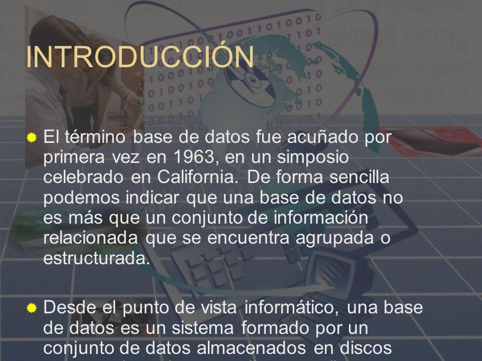 INTRODUCCIÓN El término base de datos fue acuñado por primera vez en 1963, en un simposio celebrado en California.