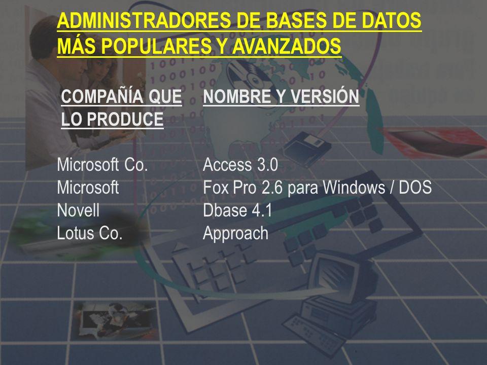 ADMINISTRADORES DE BASES DE DATOS MÁS POPULARES Y AVANZADOS COMPAÑÍA QUENOMBRE Y VERSIÓN LO PRODUCE Microsoft Co.Access 3.0 Microsoft Fox Pro 2.6 para Windows / DOS NovellDbase 4.1 Lotus Co.Approach