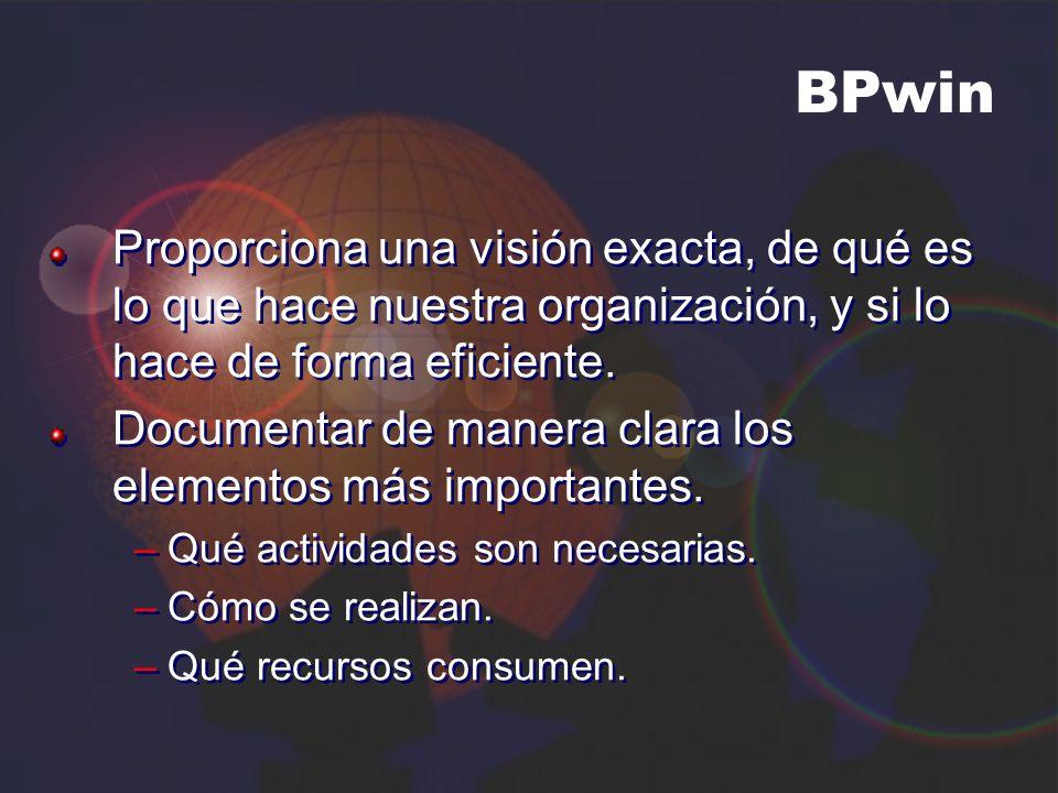 BPwin Proporciona una visión exacta, de qué es lo que hace nuestra organización, y si lo hace de forma eficiente. Documentar de manera clara los eleme