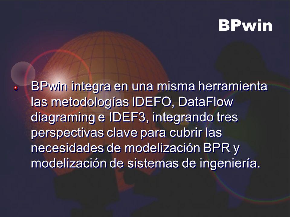 BPwin BPwin integra en una misma herramienta las metodologías IDEFO, DataFlow diagraming e IDEF3, integrando tres perspectivas clave para cubrir las n