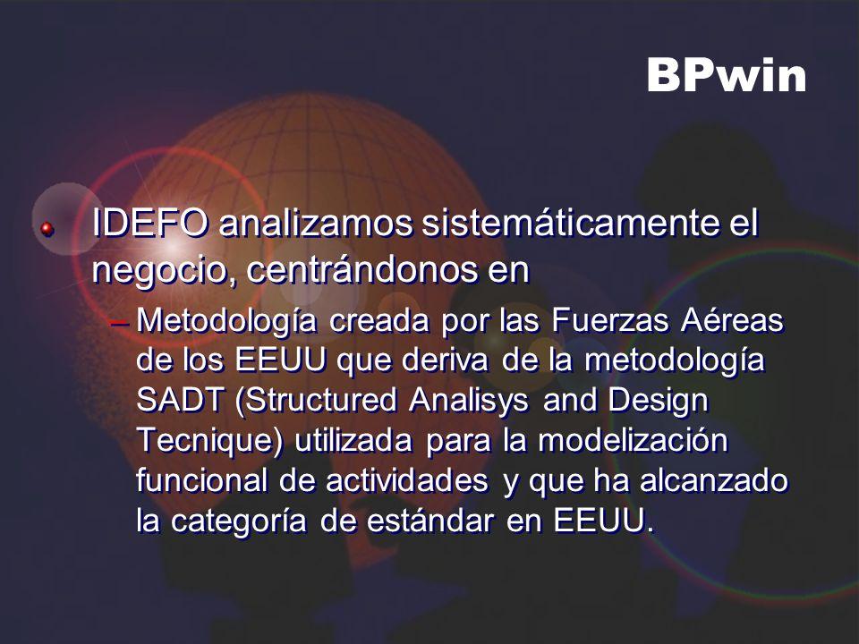 BPwin IDEFO analizamos sistemáticamente el negocio, centrándonos en –Metodología creada por las Fuerzas Aéreas de los EEUU que deriva de la metodologí