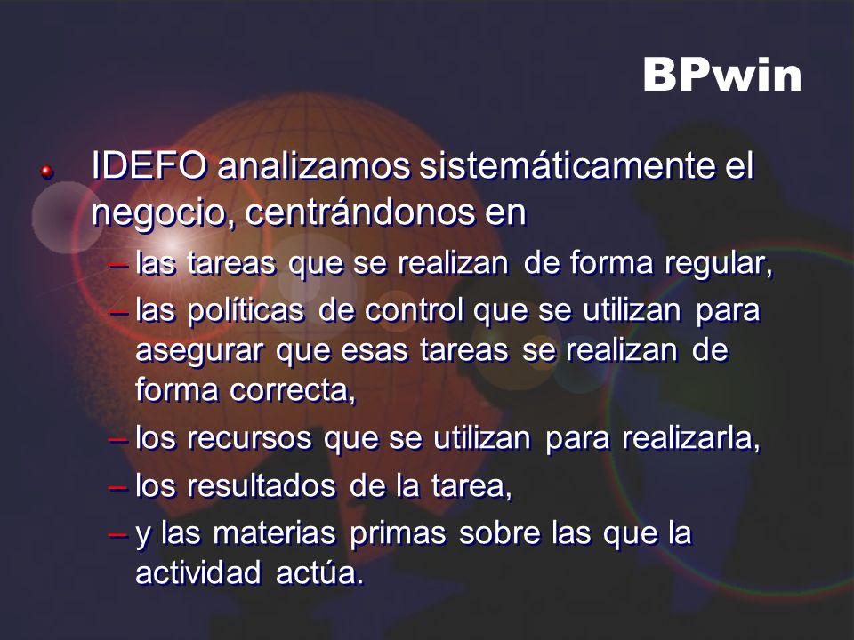 BPwin IDEFO analizamos sistemáticamente el negocio, centrándonos en –las tareas que se realizan de forma regular, –las políticas de control que se uti