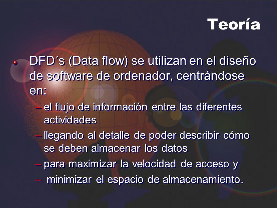 Teoría DFD´s (Data flow) se utilizan en el diseño de software de ordenador, centrándose en: –el flujo de información entre las diferentes actividades