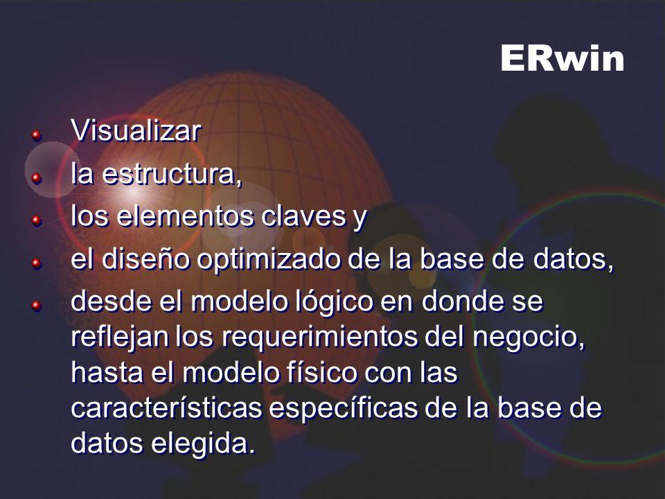 ERwin Visualizar la estructura, los elementos claves y el diseño optimizado de la base de datos, desde el modelo lógico en donde se reflejan los reque