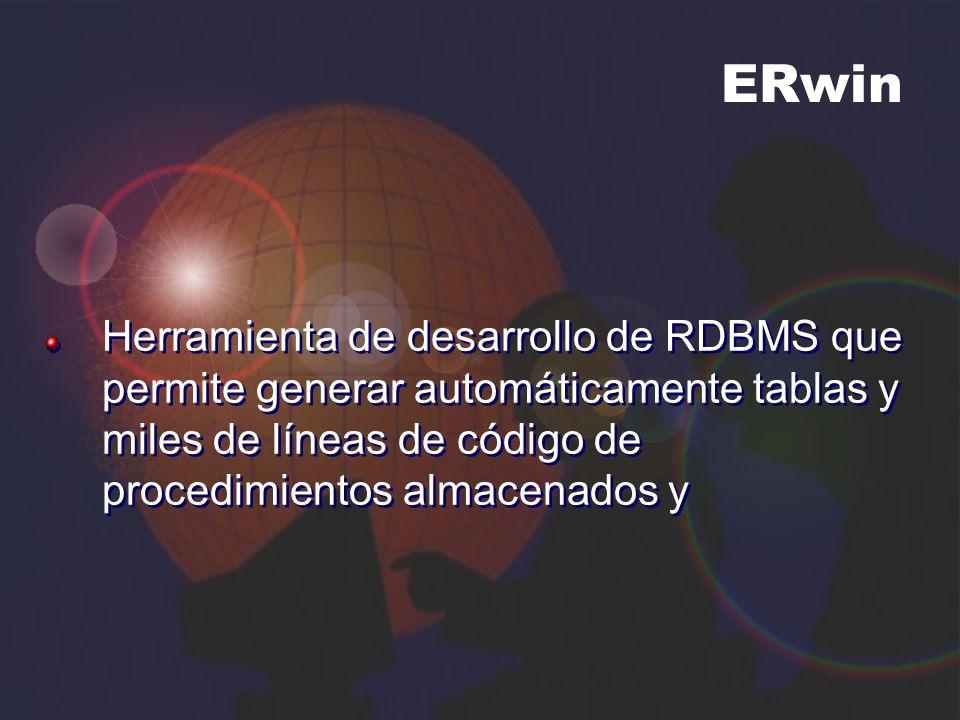 ERwin Herramienta de desarrollo de RDBMS que permite generar automáticamente tablas y miles de líneas de código de procedimientos almacenados y