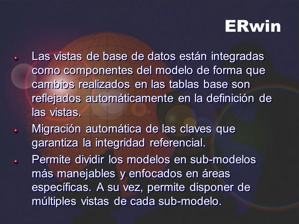 ERwin Las vistas de base de datos están integradas como componentes del modelo de forma que cambios realizados en las tablas base son reflejados autom