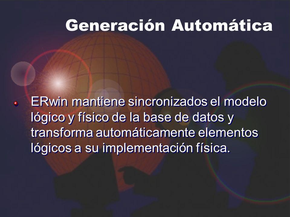 Generación Automática ERwin mantiene sincronizados el modelo lógico y físico de la base de datos y transforma automáticamente elementos lógicos a su i