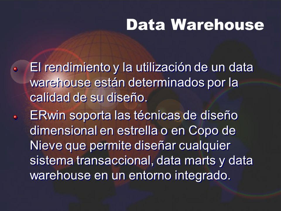 Data Warehouse El rendimiento y la utilización de un data warehouse están determinados por la calidad de su diseño. ERwin soporta las técnicas de dise