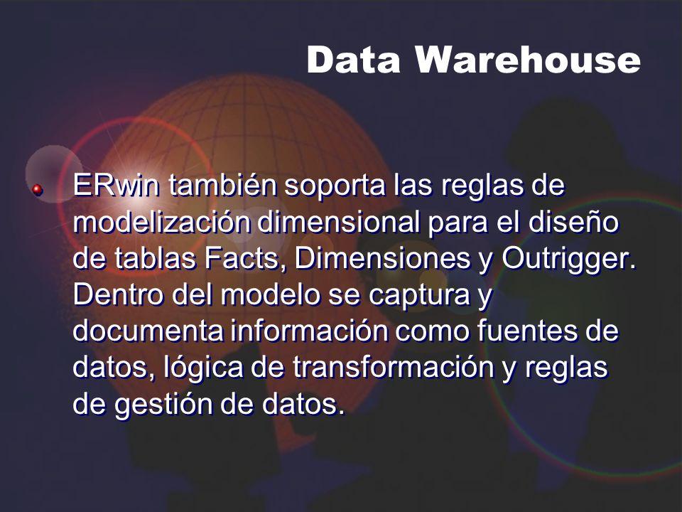 Data Warehouse ERwin también soporta las reglas de modelización dimensional para el diseño de tablas Facts, Dimensiones y Outrigger. Dentro del modelo