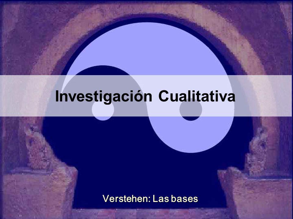 Investigación Cualitativa Verstehen: Las bases