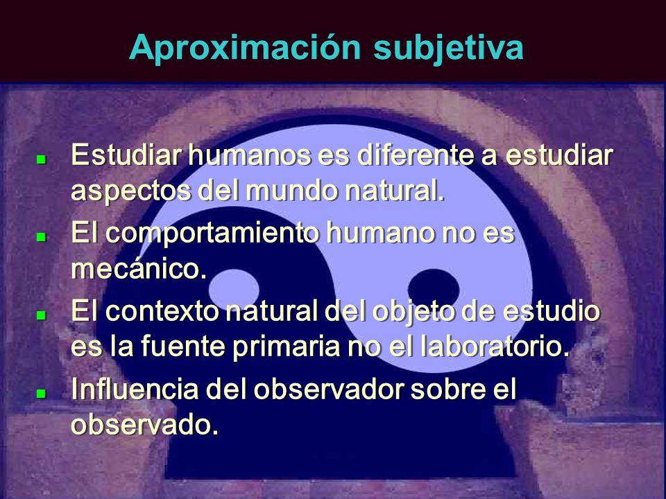 Aproximación subjetiva Estudiar humanos es diferente a estudiar aspectos del mundo natural. El comportamiento humano no es mecánico. El contexto natur