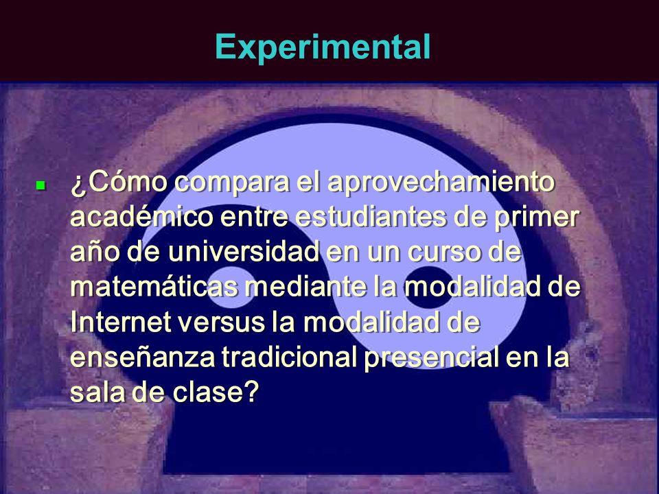 Experimental ¿Cómo compara el aprovechamiento académico entre estudiantes de primer año de universidad en un curso de matemáticas mediante la modalida