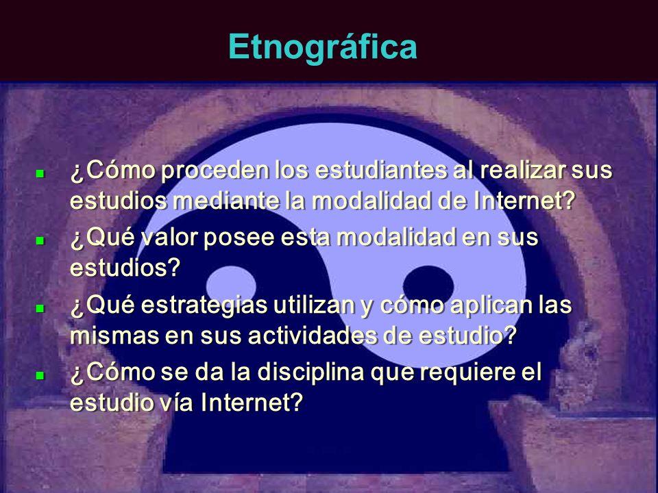 Etnográfica ¿Cómo proceden los estudiantes al realizar sus estudios mediante la modalidad de Internet? ¿Qué valor posee esta modalidad en sus estudios