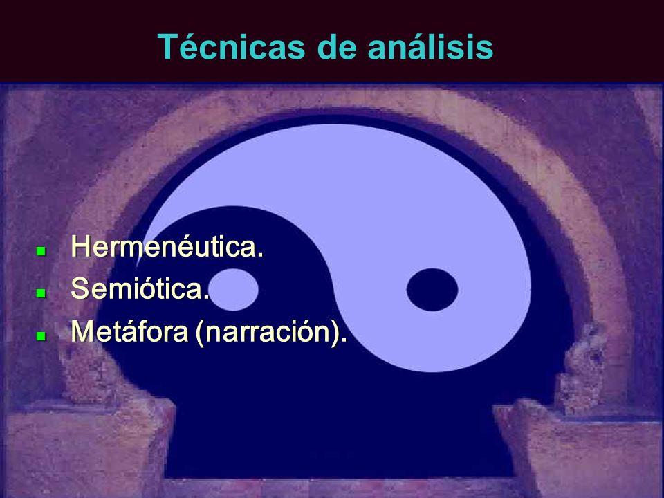 Técnicas de análisis Hermenéutica. Semiótica. Metáfora (narración). Hermenéutica. Semiótica. Metáfora (narración).