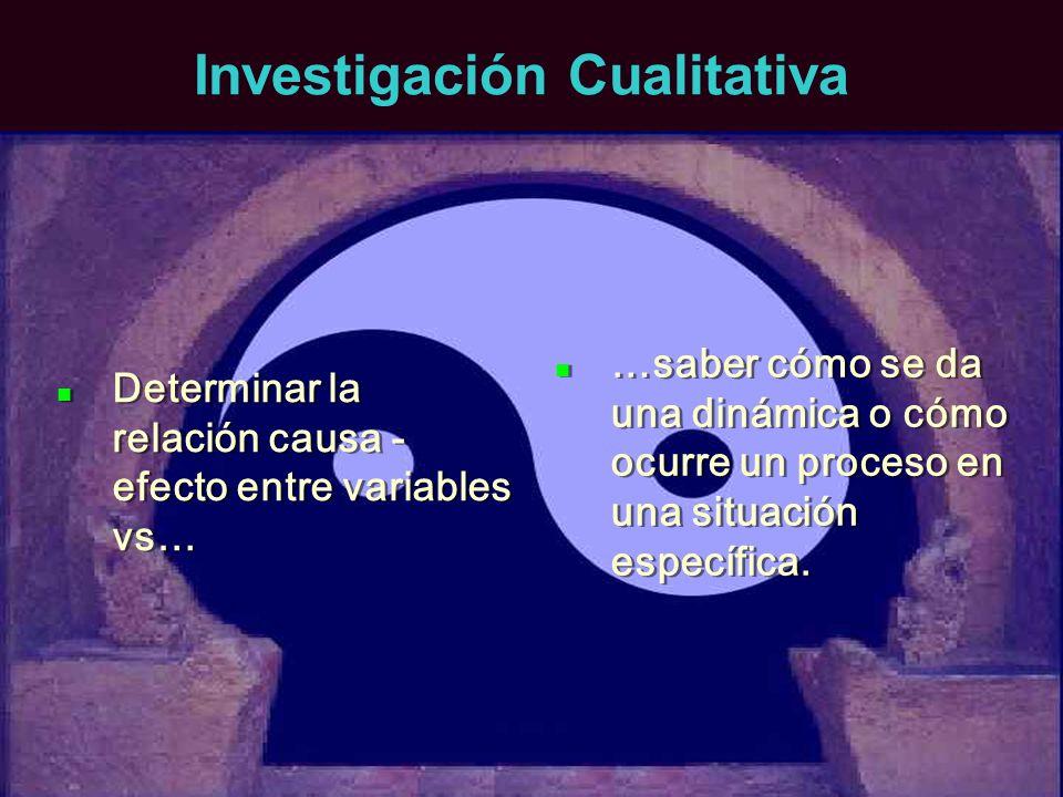 Investigación Cualitativa Determinar la relación causa - efecto entre variables vs… …saber cómo se da una dinámica o cómo ocurre un proceso en una sit