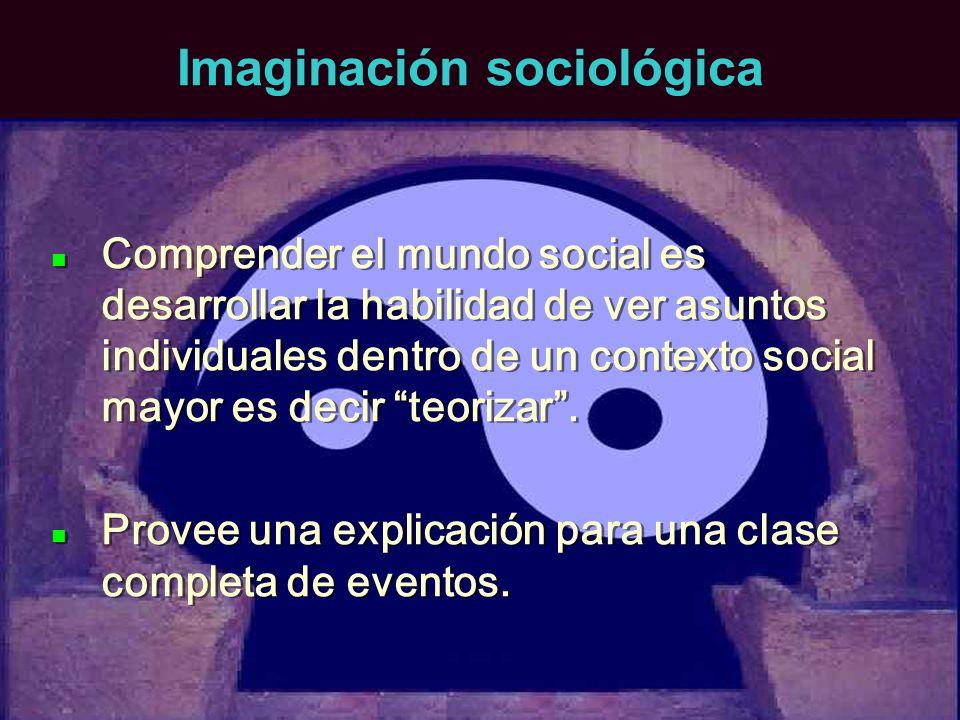 Imaginación sociológica Comprender el mundo social es desarrollar la habilidad de ver asuntos individuales dentro de un contexto social mayor es decir