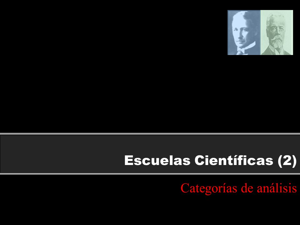Escuelas Científicas (2) Categorías de análisis