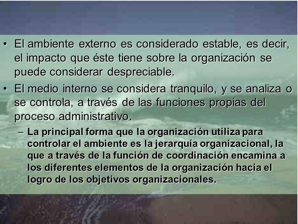 El ambiente externo es considerado estable, es decir, el impacto que éste tiene sobre la organización se puede considerar despreciable.El ambiente externo es considerado estable, es decir, el impacto que éste tiene sobre la organización se puede considerar despreciable.