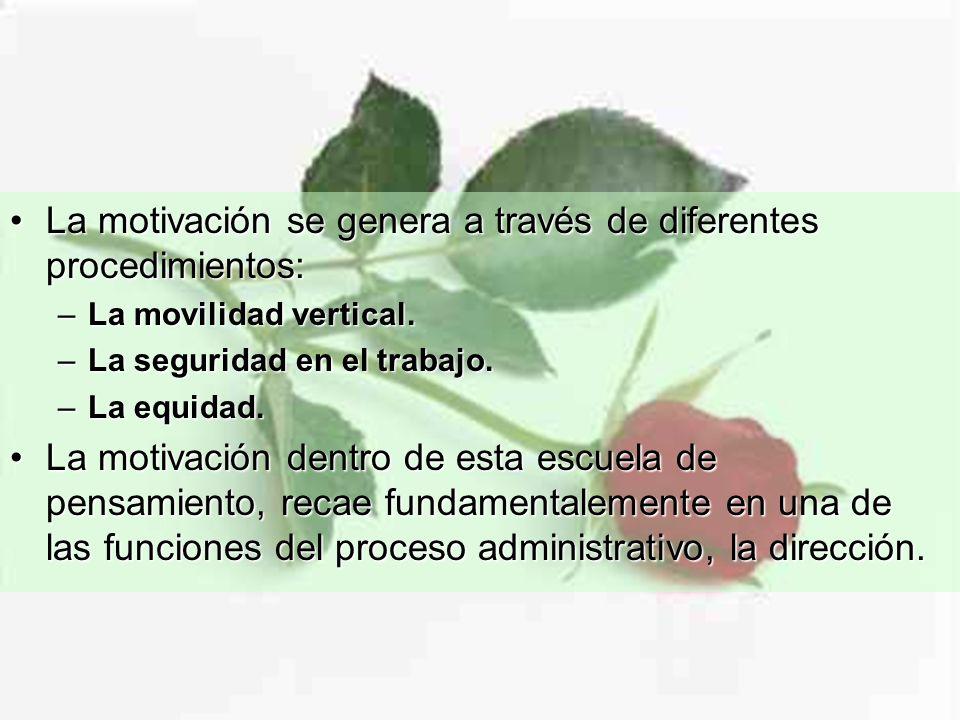 La motivación se genera a través de diferentes procedimientos:La motivación se genera a través de diferentes procedimientos: –La movilidad vertical.