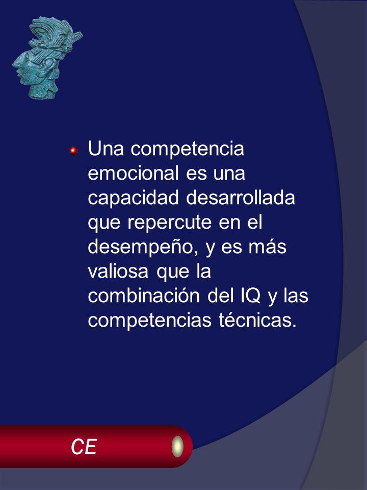 CE Una competencia emocional es una capacidad desarrollada que repercute en el desempeño, y es más valiosa que la combinación del IQ y las competencias técnicas.