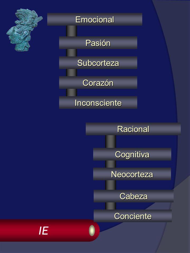 IE Cabeza Emocional Racional Subcorteza Neocorteza Pasión Cognitiva Corazón Inconsciente Conciente