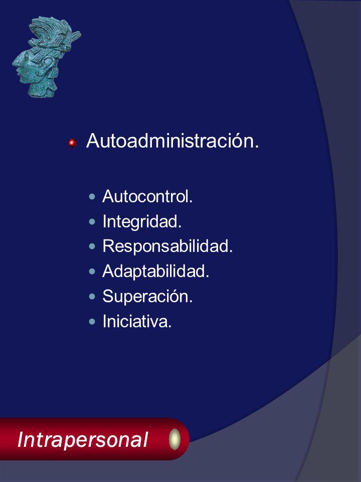 Intrapersonal Autoadministración. Autocontrol. Integridad.