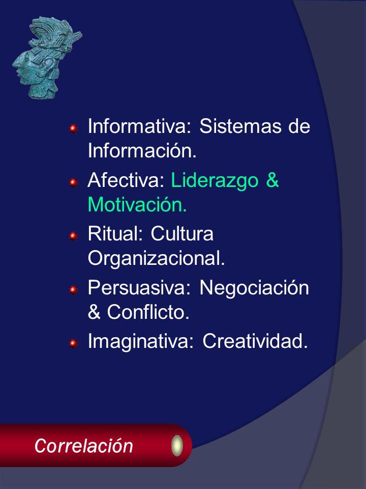 Correlación Informativa: Sistemas de Información. Afectiva: Liderazgo & Motivación.