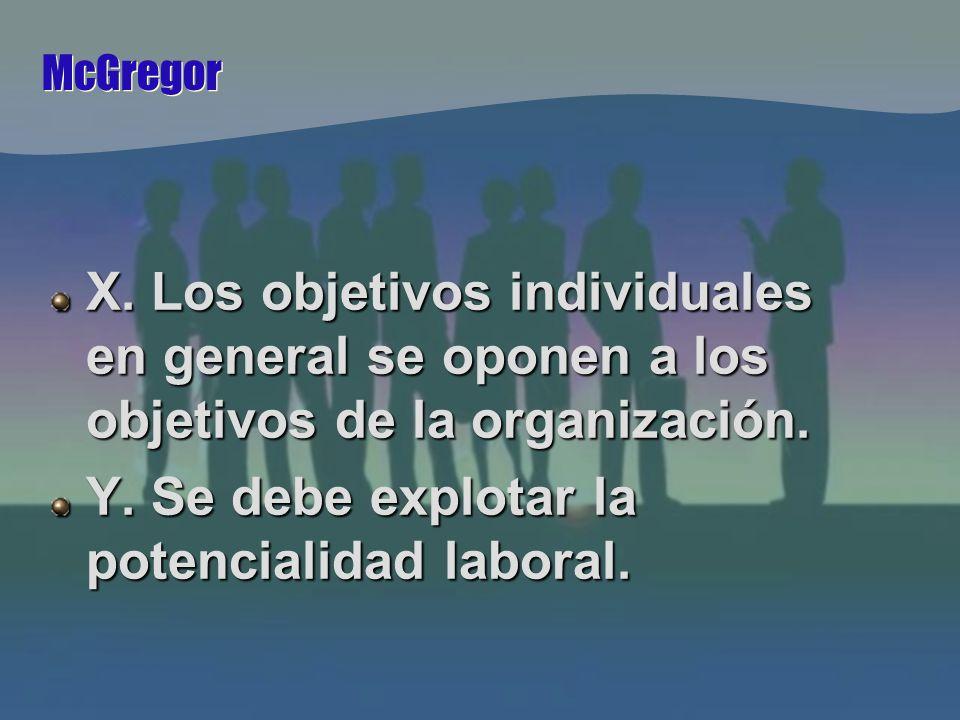 McGregor X. Los objetivos individuales en general se oponen a los objetivos de la organización.