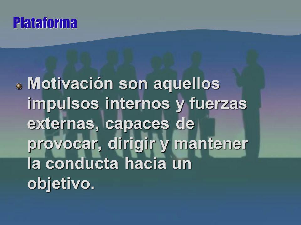 Plataforma Motivación son aquellos impulsos internos y fuerzas externas, capaces de provocar, dirigir y mantener la conducta hacia un objetivo.