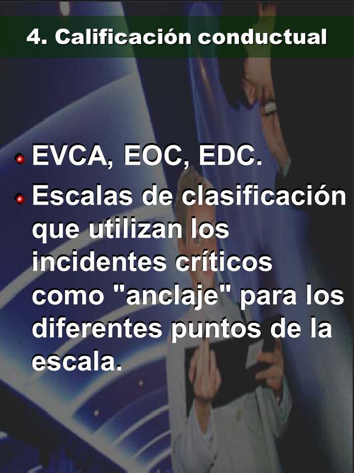 4. Calificación conductual EVCA, EOC, EDC. Escalas de clasificación que utilizan los incidentes críticos como
