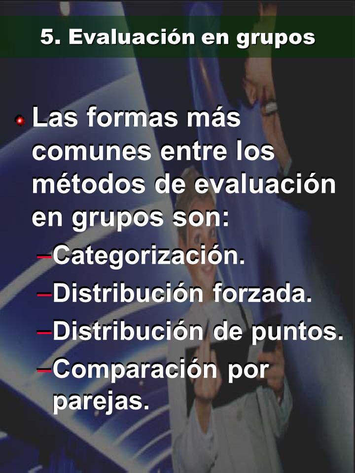 5. Evaluación en grupos Las formas más comunes entre los métodos de evaluación en grupos son: –Categorización. –Distribución forzada. –Distribución de
