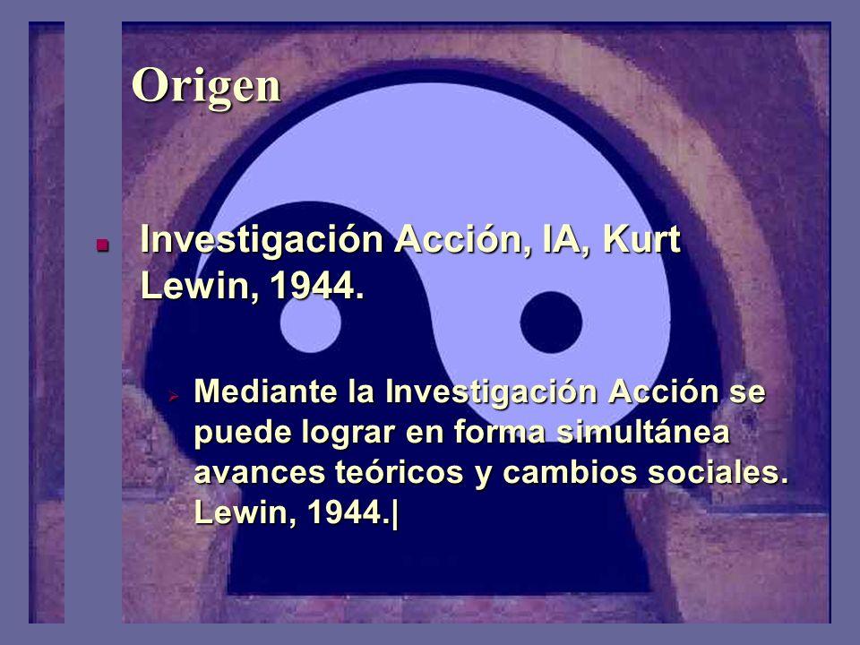 Origen Investigación Acción, IA, Kurt Lewin, 1944.