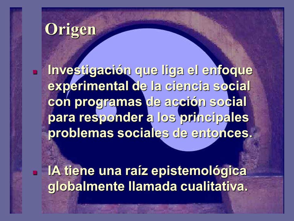 Origen Investigación que liga el enfoque experimental de la ciencia social con programas de acción social para responder a los principales problemas sociales de entonces.