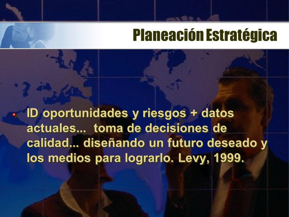 Planeación Estratégica Decisiones de efectos duraderos y difícilmente reversibles. Perspectiva amplia y se refiere tanto a la formulación de los objet