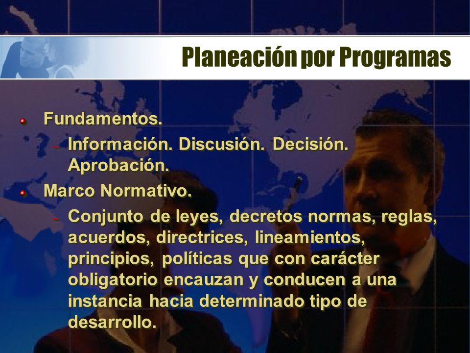 Planeación por Programas Fundamentos.– Información.