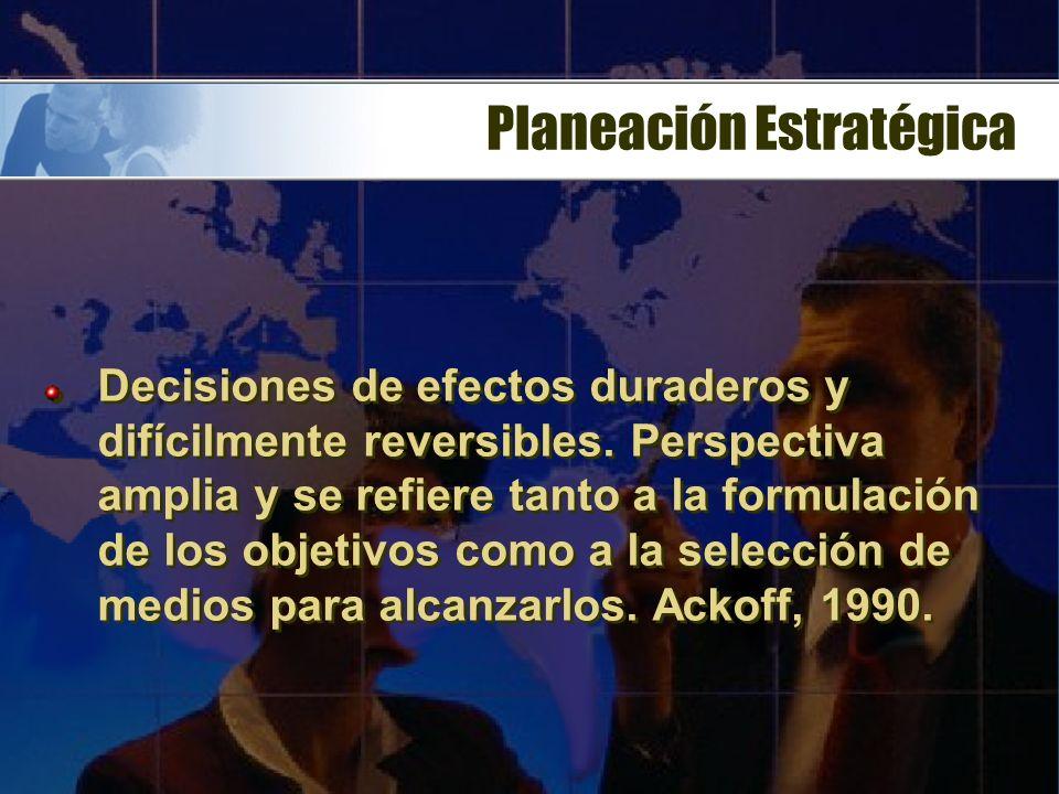 Planeación Prospectiva Diagnóstico de la situación Escenario a futuro Definición de fines y procesos Mecanismos de evaluación y control Escenario de t