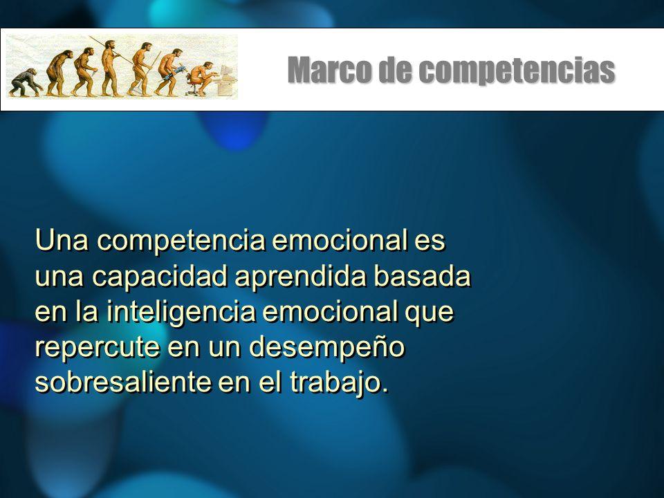 Marco de competencias Una competencia emocional es una capacidad aprendida basada en la inteligencia emocional que repercute en un desempeño sobresali