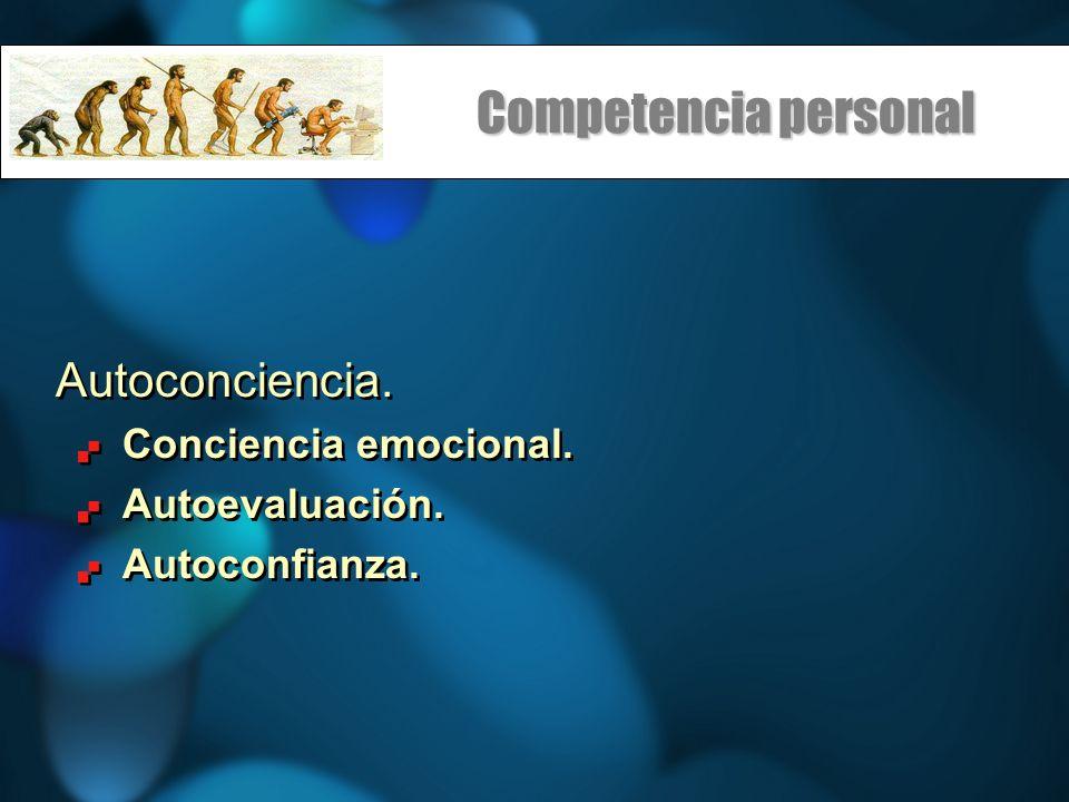 Competencia personal Autoconciencia. Conciencia emocional. Autoevaluación. Autoconfianza. Autoconciencia. Conciencia emocional. Autoevaluación. Autoco