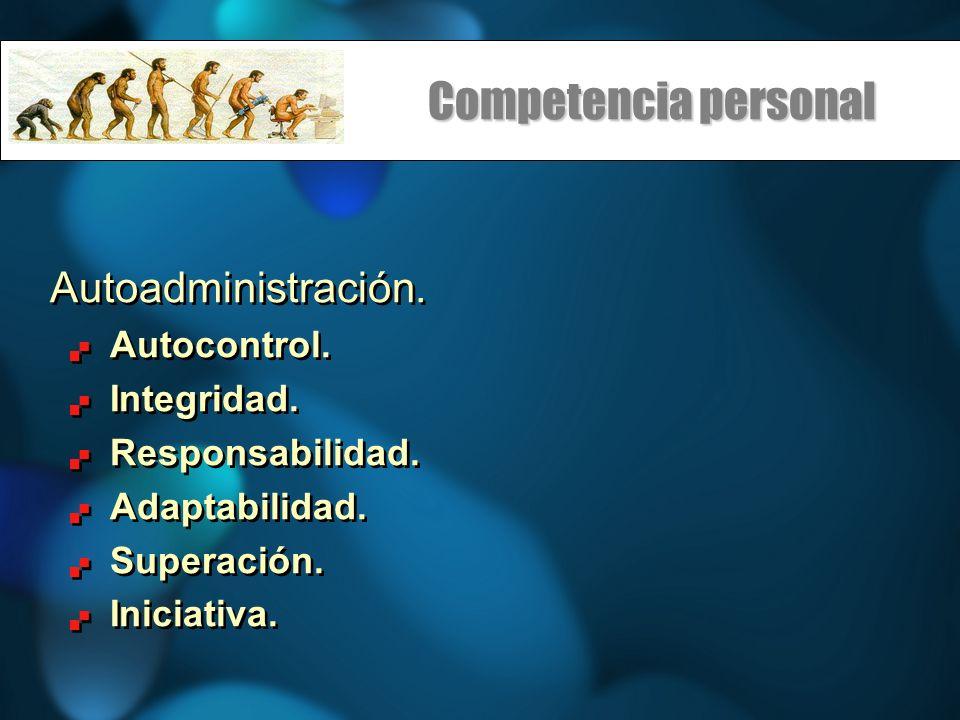 Competencia personal Autoadministración. Autocontrol. Integridad. Responsabilidad. Adaptabilidad. Superación. Iniciativa. Autoadministración. Autocont